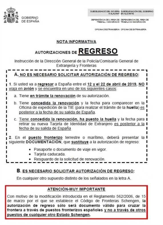 Autorizacion regreso España