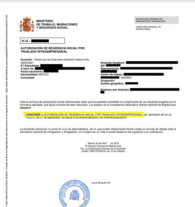 Caso exito autorizacion residencia traslado intraempresarial
